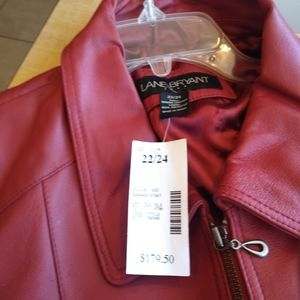 Red leather jacket for a woman